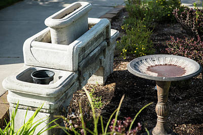Photograph - Planter And Bird Bath by Tom Cochran