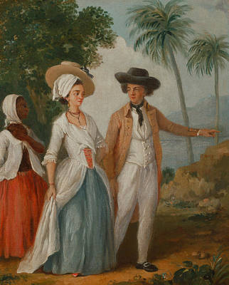 Indy Indians Painting - Planter And His Wife, With A Servant by Agostino Brunias