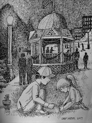Drawing - Planting By The Gazebo by Larry Whitler
