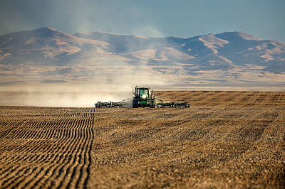 Planting Orangic Wheat Art Print by Todd Klassy