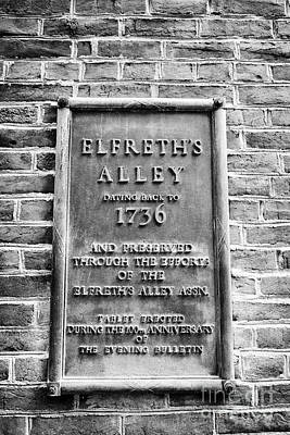 Elfreths Alley Photograph - plaque in elfreths alley in the old city of Philadelphia USA by Joe Fox