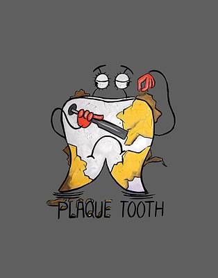 Shower Curtain Digital Art - Plaque Tooth T-shirt by Anthony Falbo