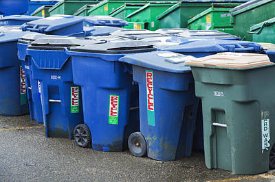 Trash Can Photograph - Plastic Garbage Bins by Don Mason
