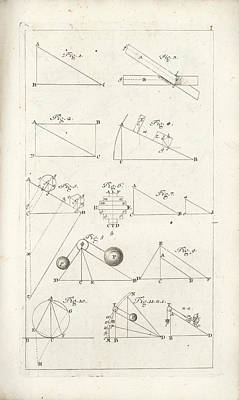 Drawing - Plate 1 From Tractatio De Theoria Descensus Et Ascensus Gravium Obliqui Ejusque Multiplici Applicati by Joseph Anton Zimermann