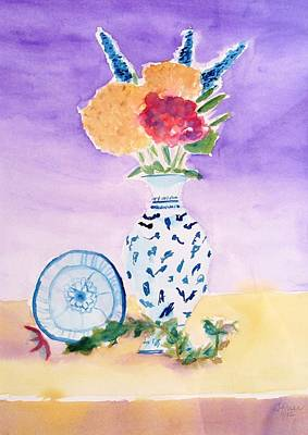 Painting - Plate And Flowers by Jamie Frier