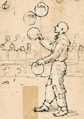 Plate Juggler Art Print by H James Hoff