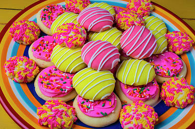 Photograph - Plate Of Colorful Cookies by Garry Gay