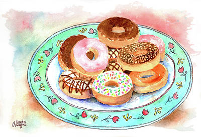 Donuts Painting - Plate Of Donuts by Arline Wagner