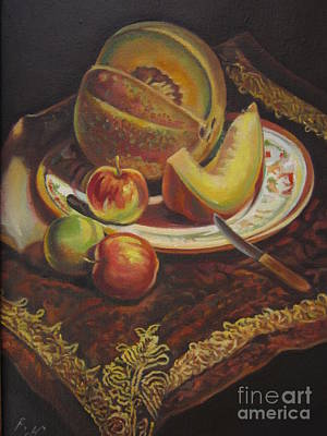 Plate Of Fruit Print by Farideh Haghshenas
