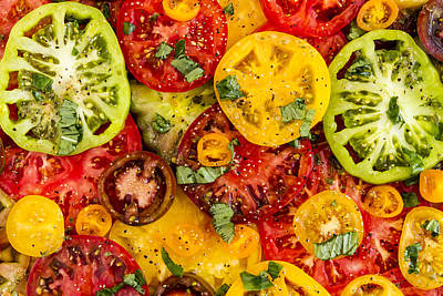 Photograph - Plate Of Heirloom Tomatoes by Teri Virbickis