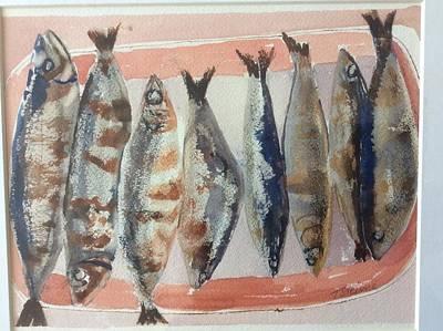Painting - Plate Of Mackerel  by Tom Steiner