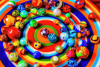 Photograph - Plate With Colorful Marbles by Garry Gay