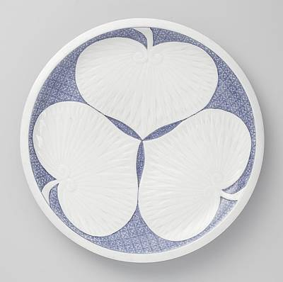 In Relief Painting - Plate With Three Hollyhock by MotionAge Designs