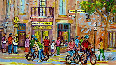 Painting - Plateau Mont Royal Bike Path Montreal Summer City Scene Rue Fairmount  by Carole Spandau