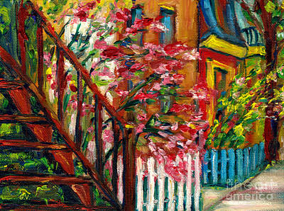 Montreal Memories Painting - Colorful Montreal Houses Plateau Mont Royal Street Grace Venditti by Grace Venditti