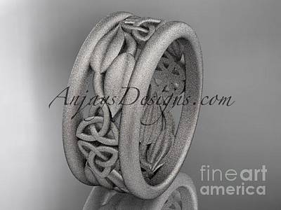 Leaf And Vine Engagement Ring Jewelry - platinum celtic trinity knot matte finish wedding band, engagement ring CT7293GA by AnjaysDesigns com