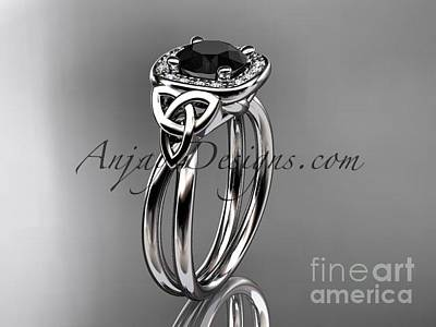 Leaf And Vine Engagement Ring Jewelry - platinum diamond celtic trinity knot engagement ring with a Black Diamond center stone CT7330 by AnjaysDesigns com