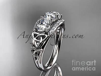 Leaf And Vine Engagement Ring Jewelry - platinum diamond celtic trinity knot wedding ring, three stone engagement ring CT7203 by AnjaysDesigns com