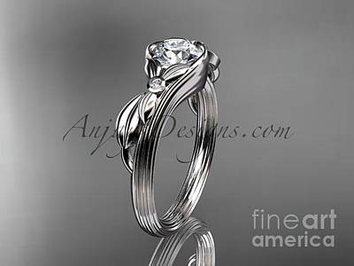 Leaf And Vine Engagement Ring Jewelry - Platinum Diamond Engagement Ring Adlr324 by AnjaysDesigns com