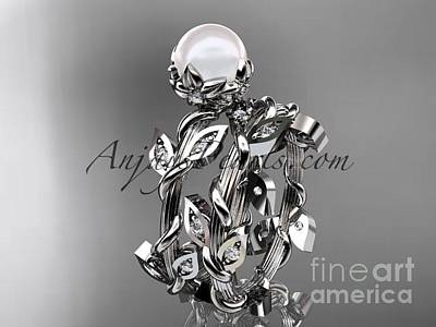 Leaf And Vine Engagement Ring Jewelry - Platinum Diamond Leaf And Vine, Floral Pearl Wedding Set, Engagement Set Ap20s by AnjaysDesigns com