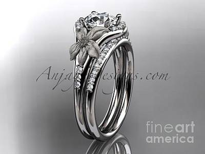Leaf And Vine Engagement Ring Jewelry - platinum diamond leaf and vine wedding ring engagement ring nature inspired jewelryADLR91S by AnjaysDesigns com