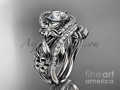 Solitaire Ring Jewelry - Platinum Diamond Unique Flower Leaf And Vine Engagement Ring Set Adlr211s   by AnjaysDesigns com
