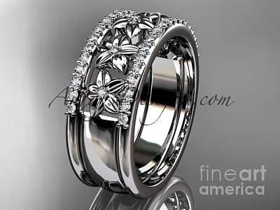 Jewelry - Platinum Engagement Ring, Flower Wedding Band Adlr516b by AnjaysDesigns com