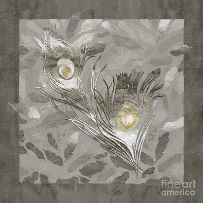 Platinum Feathers, Peacock Feathers Home Fashion Art Print