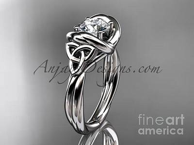 Jewelry - Platinum Trinity Celtic Twisted Rope Wedding Ring With A Moissanite Center Stone Rpct9146 by AnjaysDesigns com