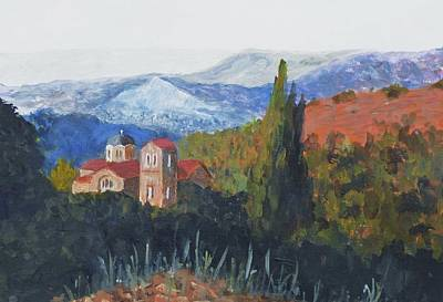 Panagia Painting - Platres Church Troodos Mountains Cyprus by Nigel Radcliffe