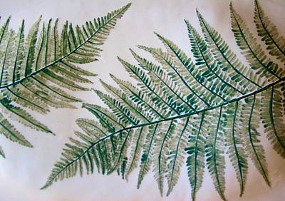 Platter With Ferns Art Print by Polly Castor