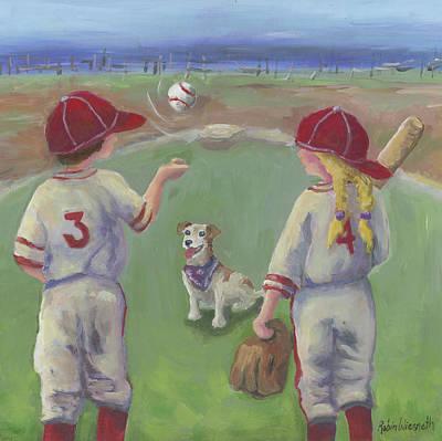 Baseball Paintings - Play Ball by Robin Wiesneth