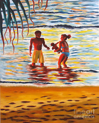 Painting - Play Day At Jobos Beach by Milagros Palmieri