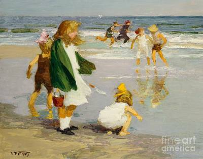 Paddling Painting - Play In The Surf by Edward Henry Potthast