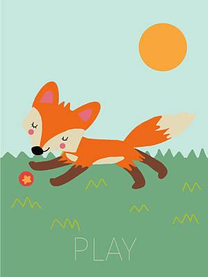 Fox Digital Art - Play by Nicole Wilson