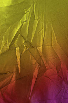 Photograph - Play Of Hues. Metallic Yellow Lime And  Orange Magenta. Textured Abstract by Jenny Rainbow