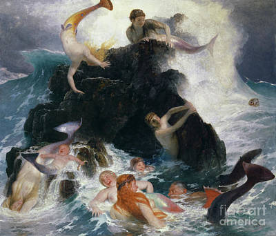 Water Play Painting - Play Of The Nereides by Arnold Bocklin