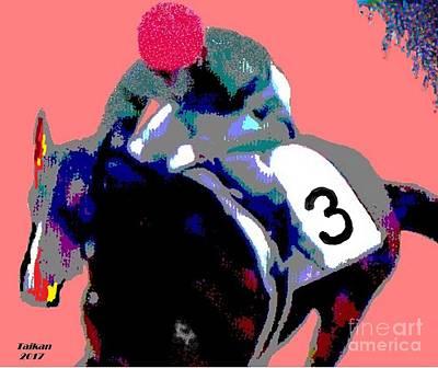 Racetrack Digital Art - Play The Horses By Taikan by Taikan Nishimoto
