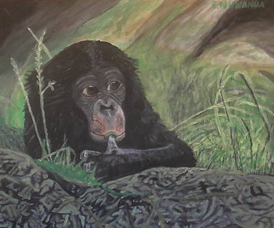 Ape. Great Ape Painting - Play With Your Food by Robbie Nuwanda
