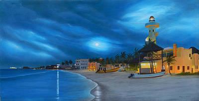 Playa De Noche Original by Angel Ortiz