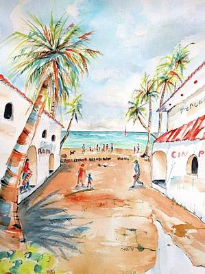 Mexico People Painting - Playa Del Carmen Bright Day by Carlin Blahnik CarlinArtWatercolor