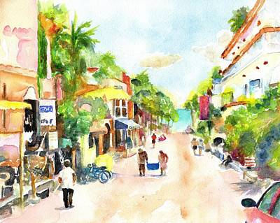 Mexico People Painting - Playa Del Carmen Mexico Shops by Carlin Blahnik CarlinArtWatercolor