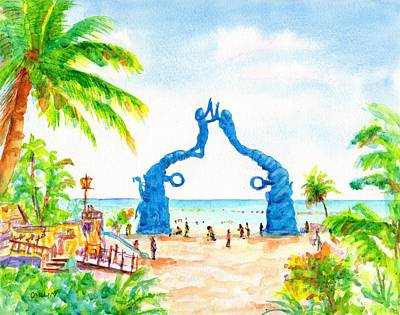 Painting - Playa Del Carmen Portal Maya Statue by CarlinArt Watercolor