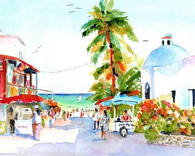 Mexico People Painting - Playa Del Carmen Shops And Church by Carlin Blahnik CarlinArtWatercolor