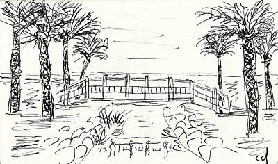 Beautiful Creek Drawing - Playa Playamar In Torremolinos by Chani Demuijlder