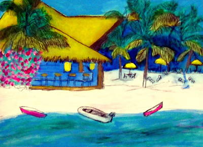 Painting - Playamexico Beachclub by Ted Hebbler