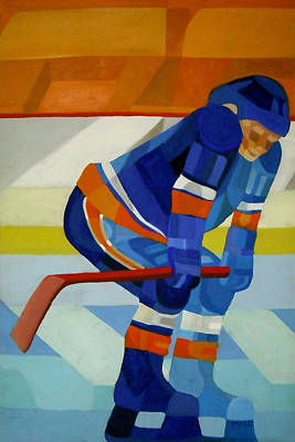 Hockey Painting - Player 1 by Ken Yackel