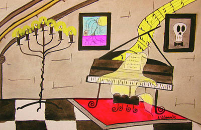 Haunted Castle Painting - Player Piano by Vonda Adomatis