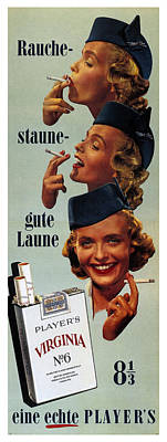 Pop Art Rights Managed Images - Players Virginia No.6 - Cigarettes - Vintage Advertising Poster Royalty-Free Image by Studio Grafiikka