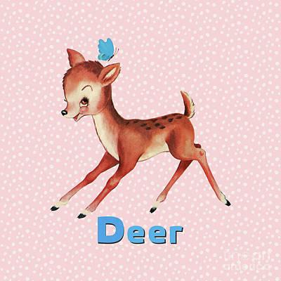 Playful Baby Deer Pattern Art Print